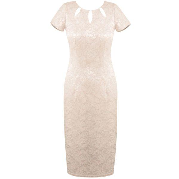 Sukienka beżowa z wyciętą łezką