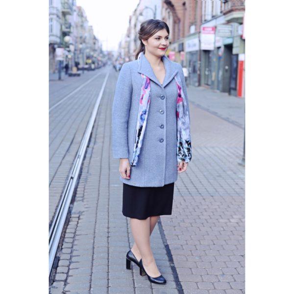 Płaszcz wełniany siwy