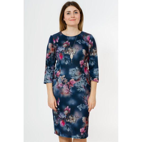Sukienka granatowa w kwiaty amarantowe